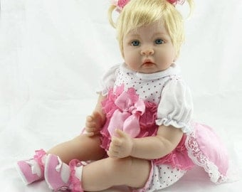 "Reborn American Baby Doll ""CHLOE"" by NPK 22 Inch Interchangeable Soft Silicone Cloth Life Like Collectible/Toy/Gift"