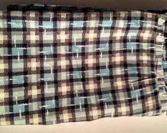 Vintage Feed Sack Blue Plaid Washed Hemmed as Skirt Bottom