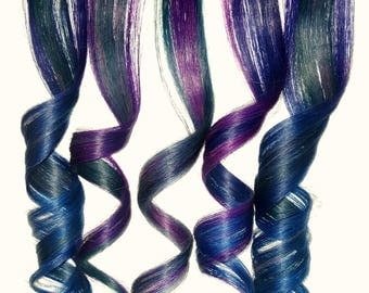 OIL SLICK GALAXY Mermaid Ombre Real Human Hair Extensions Clip In Extensions Festival Hair Weave Ariel Hair Extensions