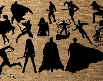 Justice League 20 pk PNG Silhouettes for Decals Cricut (Digital Download)