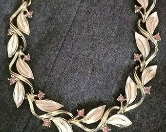 Vintage necklace pink leaf and pink rhinestones