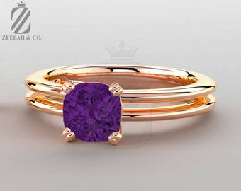Genuine Purple Amethyst Solitaire Ring in 14K Rose Gold - Promise Ring - Engagement Ring - Wedding Ring