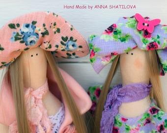 Tilda doll handmade.  Two friends or sisters.
