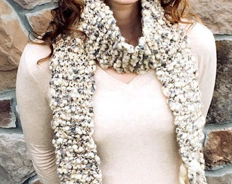 Adult Mid-length or Kids Full Cream Grey Knit Scarf
