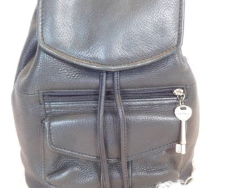 1990'S FOSSIL Black Leather Backpack Purse