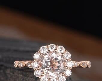 Art Deco Engagement Ring Morganite Wedding Ring Antique Bridal Retro Moissanite Halo Diamond Half Eternity Flower Ring Anniversary Women