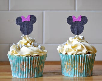 Minnie Mouse cupcake topper/ minnie toppers/ birthday cake toppers/ glitter cake topper/ pack of 6