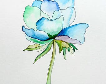 Blue Flower Watercolor Painting