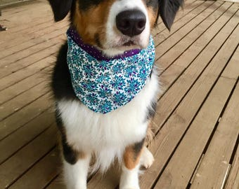Purple/Teal Floral Tie-On Dog Bandana Reversible