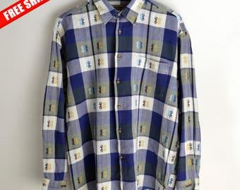 Shirt men vintage LERROS L 90s shirt Vintage plaid shirt Floral print 90s Retro Shirt Oxfords Vintage Shirt Long sleeve shirt button up