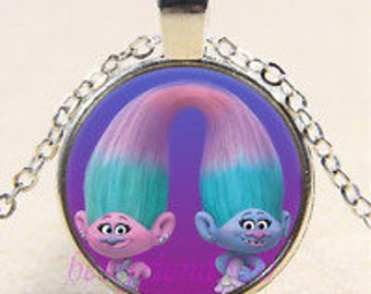 Cute Trolls Photo Cabochon Glass Tibet Silver Chain Pendant Necklace-C34
