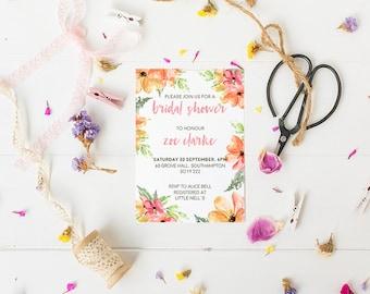 Bridal Shower Invitation // Hen Party Invitation, Floral Invite, Printable Invitations, Bachelorette Party Invitation,