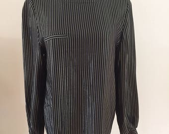 Early 1980s Vintage Valentino Black/Gold Metallic Long Sleeve Blouse