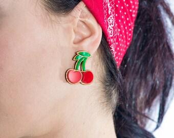 Earrings cherry wood and methacrylate