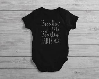 Breakin' Hearts Blastin' Farts Baby Onesie // Baby Shower Gift // Baby Bodysuit // Baby Clothes // Coming Home // Baby Clothing // Baby Gift