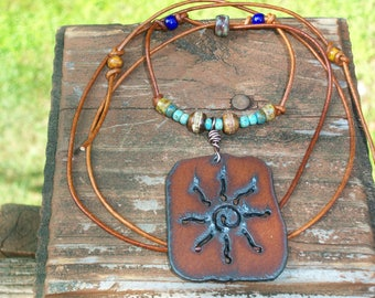 Rustic Iron Sun Dog Tag Beaded Choker Adjustable Necklace