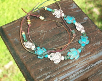 Turtle and Bead Choker Necklace