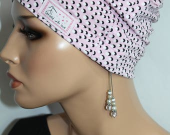 little things in life Chemo Soft Cap Sleeping Hat Nightcap Dotty pink and black comfy and light Cotton