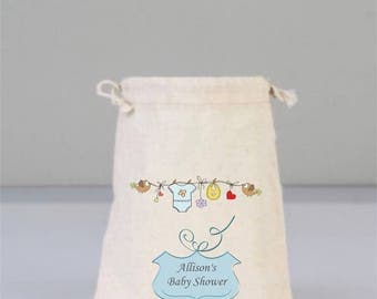 Personalized Baby Shower Bags with Small Birds and Heat, Baby Shower Gifts, Party Gifts, Boy Baby, Cotton Bag Drawstring