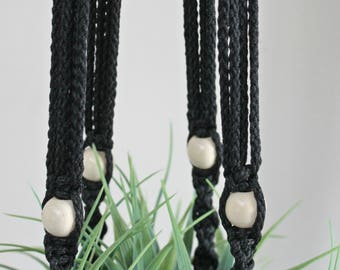 Black Macrame Plant Hanger with Wooden Beads