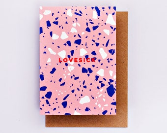 Lovesick Card, Fashion Stationery, Fashion Card, Fashion Gift, Love Card, Red, Romance Card, Spot Print, Valentine, Romantic, Pink, Terrazzo