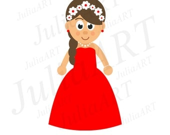 cartoon cute girl in red dress