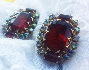 Vintage Ruby and Carnival Glass Rhinestone Earrings - 1950s - Great Christmas Earrings - Warm - Great for Special Occasions