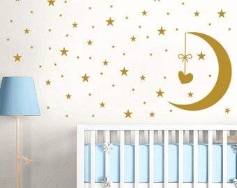 Moon And Stars Wall Decals Set. Nursery Wall Decal. Star Wall Decal. Moon