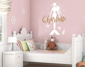 Mermaid Wall Decal Name Wall Sticker Vinyl Nursery Personalized Girl Name Decal Wall Decor Nursery Wall Decor Baby Girl Name Wall Decal F26