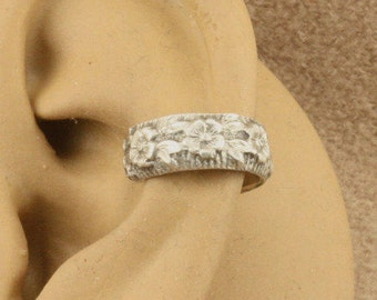 Sterling Silver Ear Cuff Earring - Cartilage Earring - NonPierced Earring - Ear Band - Cartilage Cuff - Flower and Leaf Design