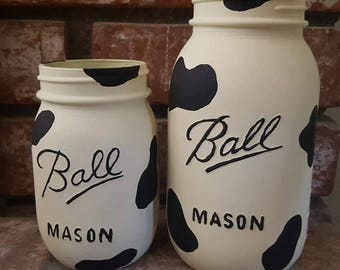 Cow Print Mason Jar, Hand Painted, Mason Jar, Mason, Cow, Cow Print, Black, White, Kitchen