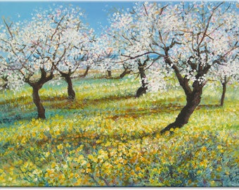 Almond orchard... landscape original painting | nature fine art | wedding birthday gift | ready to hang 'home sweet home' or a welcome gift