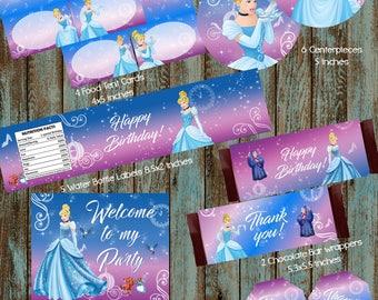 Cinderella Party Package, Cinderella Party Decorations, Princess Cinderella Birthday Party, Cinderella Centerpieces, Cinderella Water Labels