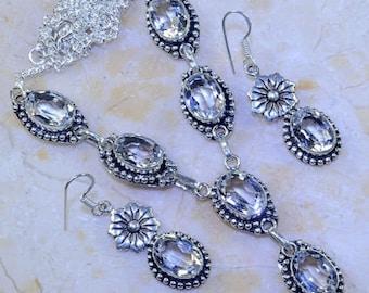 Womens Beautiful White Topaz Earrings/Necklace Set