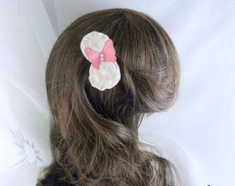 flowers and Butterfly anti-slip silk white and pink hair clip