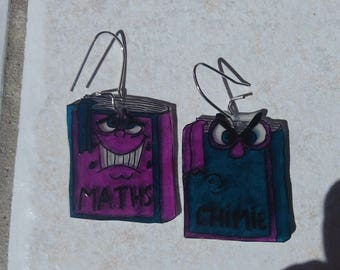 math and chemistry books earrings