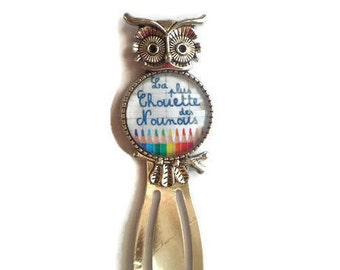 """OWL"" paperclip bookmark ""Coolest nannies"" /Nounou/ / Wonderland faby/gift/party / thanks"
