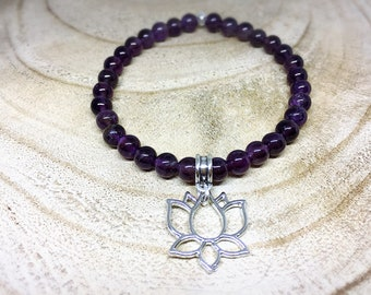 Silver Bracelet Crystal healing, amethyst and Lotus