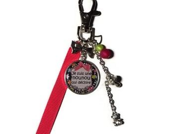 "Keychain - nanny/nanny gift bag charm ""I'm a nanny who rocks"" with polaris bead"