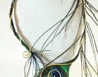Adornment feather Peacock necklace and earrings