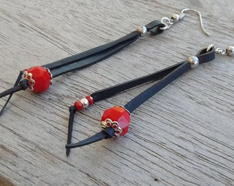 Stud Earrings in recycled air Chamber and faceted red - dangle earrings - long earrings - lightweight earrings