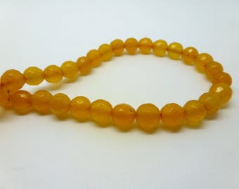 12 pearls tinted jade 6mm yellow faceted (USPJ08-1)