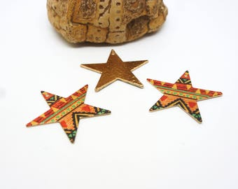 2 star pewters 23 * 22mm glitter printed ethnic Aztec orange/black/gold (8SBDP14)