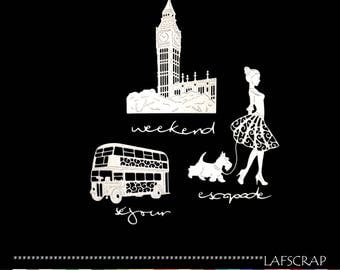 character woman dog bus big ben London scrap scrapbooking cuts chipboard paper die cut embellishment creation