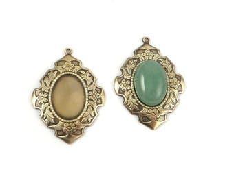 1 pendant holder cabochon 13 x 18 brass antique color bronze. M-004-B