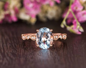 Rose Gold Engagement Ring Oval Cut Aquamarine Ring Art Deco Solitaire March Birthstone Ring Claw Prong Antique Anniversary Promise Women