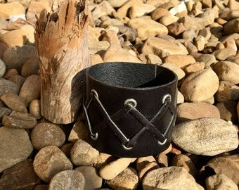 Genuine Black Leather Cuff