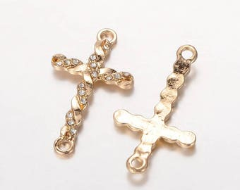 Crystal clear 33 mm gold plated cross