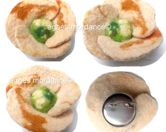 "Flower brooch felted wool ""Dawn"" 9cm - Merino - OOAK"