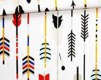 Fabric Indian arrows, 100% cotton 50 x 160 cm, motif arrows colored on white background